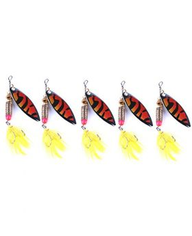 "LENPABY 5pcs Original Rooster Tail Spinnerbait Lure with Sequins Paillette Spoon Fishing Lures Spinner Baits Kit Saltwater/freshwater for Bass Trout 8cm/3.15""/6g"