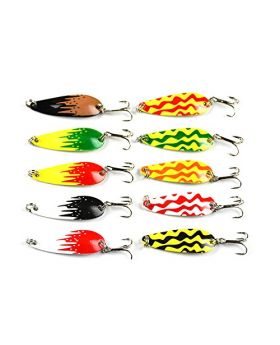 "LENPABY 10pcs Mini Fishing Casting Metal Spoon Lure Grasshoppers Shape for Bass Trout and Pike 4.3cm/1.69""/6g"