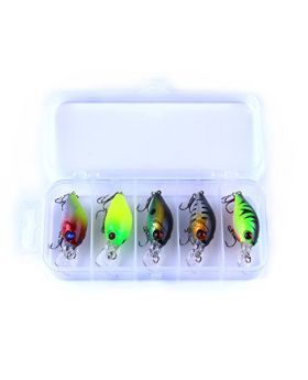 LENPABY 5pcs floating fishing lure kit hard plastic crankbaits wobblers fishing baits with fishing box