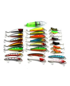 LENPABY25pcs minnow popper fishing lamp ciciada mixed fishing lures kit wobbler pike carp trout perch crappie catfish fishing baits set tackles