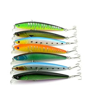 LENPABY 7pcshard minnow fishing lures bass wobbler pike carp trout perch catfish fishing baits