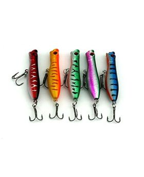 "LENPABY 5 pcs Topwater Lures Floating Surface Hard Popper Fishing Hooks Baits Tackle 6cm /2.36""/5g"